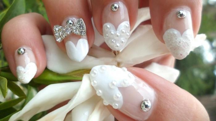 fingernägel für hochzeit nagellack metallene perlen glitzersteine