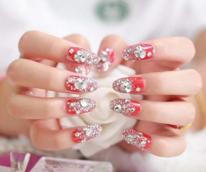gelnägel hochzeit roter nagellack strasssteine glitzer