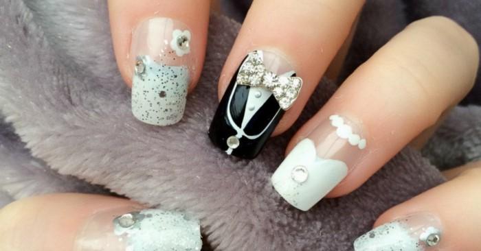 gelnägel ideen für hochzeit braut bräutigam motive strasssteine nagellack