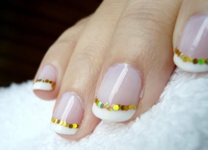 gold schimmern gelnägel hochzeit fingernägel