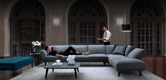 graue designer sofas dunkelblaue ottomane