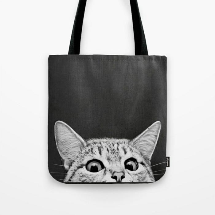 graue tote bag handtasche mit kätzchen