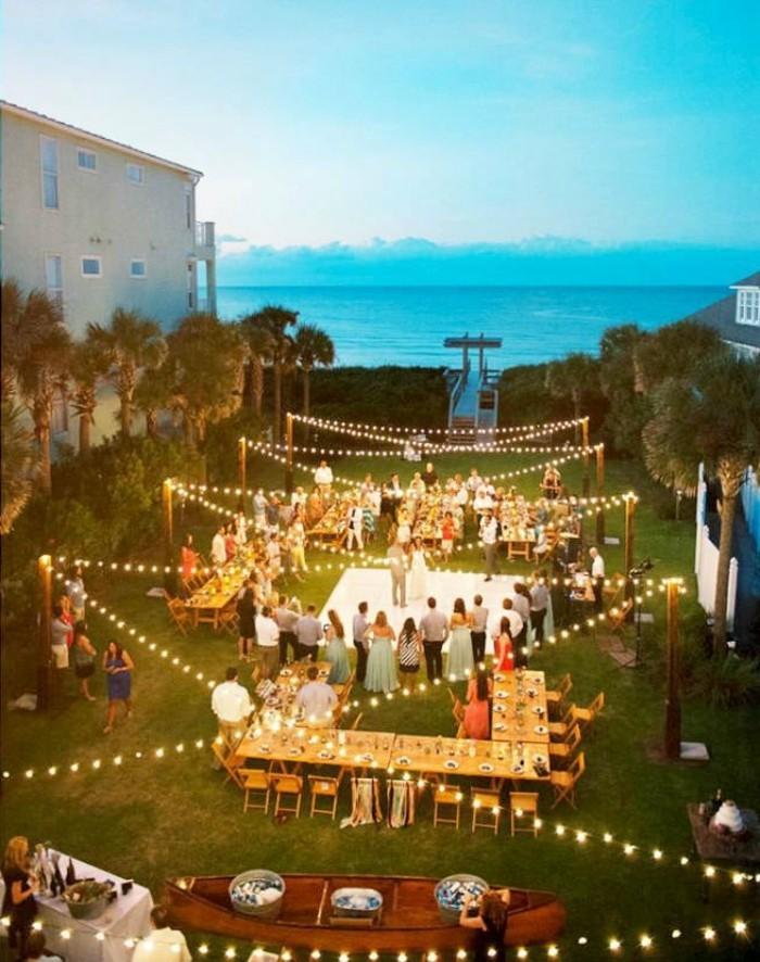 hochzeitsfeier gartenhochzeit mit lichterketten dekorieren