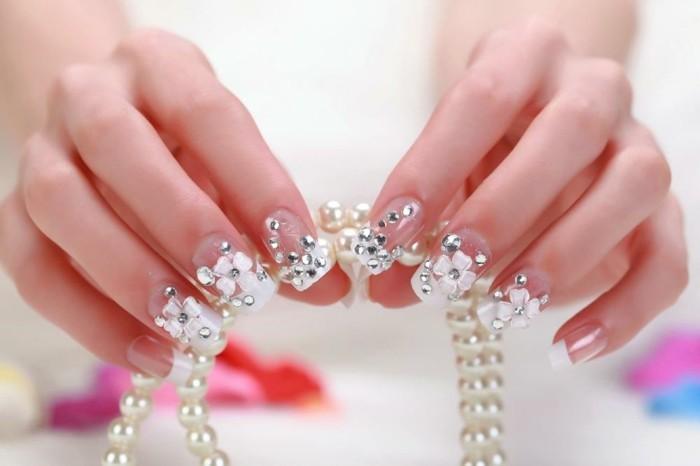 hochzeitsnägel desigs ideen strasssteine glitzer blumen perlen