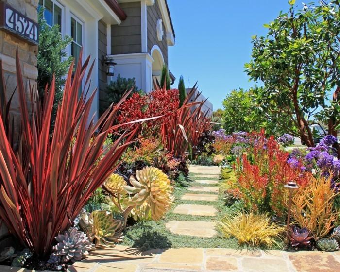 mediterraner garten schöne landschaft mit farbigen pflanzen