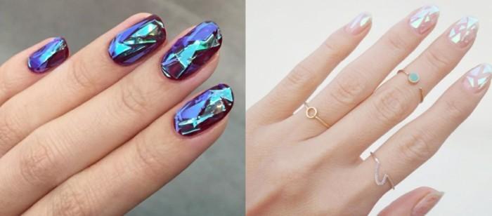 metallener glanz lila weiss hochzeitsnägel ideen fingernägel
