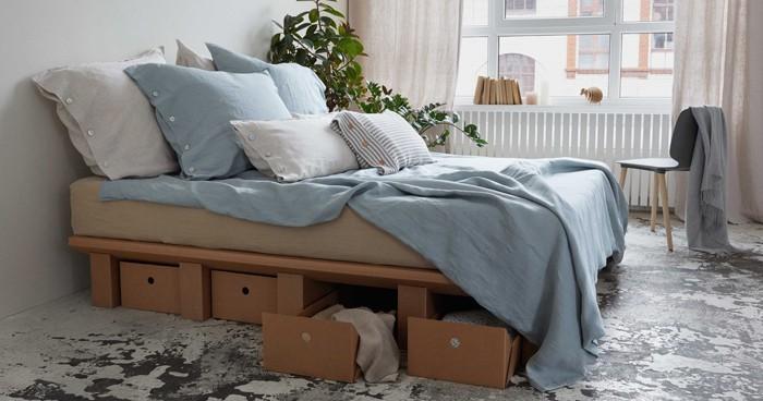 pappmoebel kartonmöbel bett aus karton kinderzimmer gestalten ideen diy ideen büro designer schlafzimmer