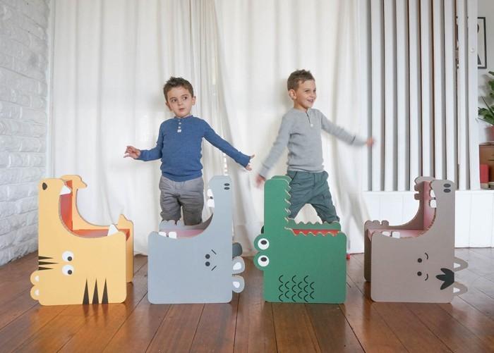 pappmoebel kartonmöbel bett aus karton kinderzimmer gestalten ideen