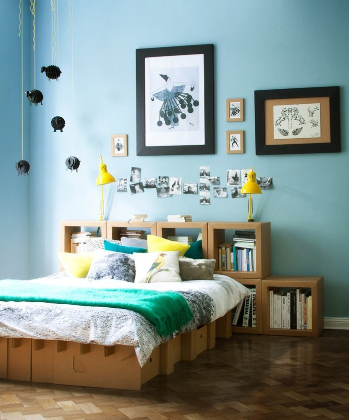 pappmoebel kartonmöbel bett aus karton schlafzimmer gestalten günstig