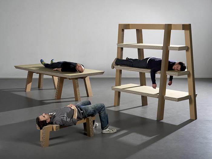 pappmoebel kartonmöbel bett aus karton tragkraft vs eigengewicht
