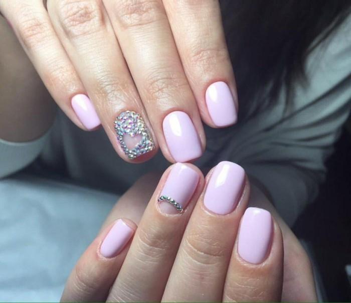 rosa gelnägel hochzeitsnägel ideen strasssteine glitzer