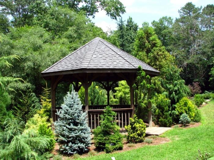 schöne gärten garten mit gartenlaube gestalten