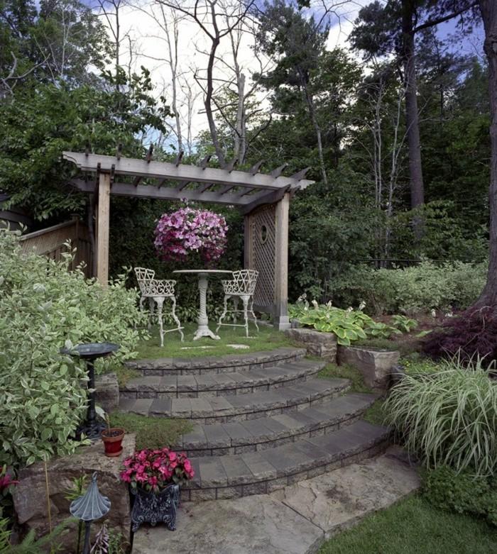 schöne gärten gartenbereich mit pergola gartentreppen