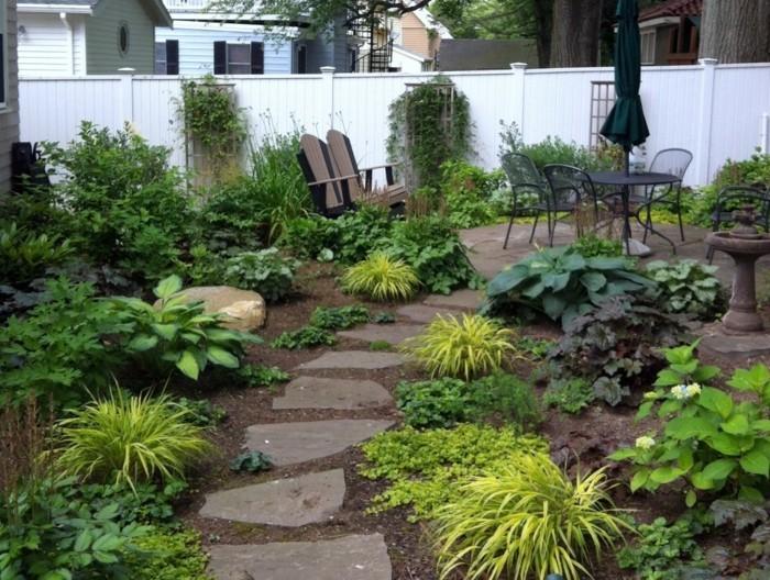schöne gärten gemütlichen garten mit steinweg gestalten