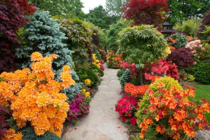 schöne gärten herrliche blumen um den gartenweg