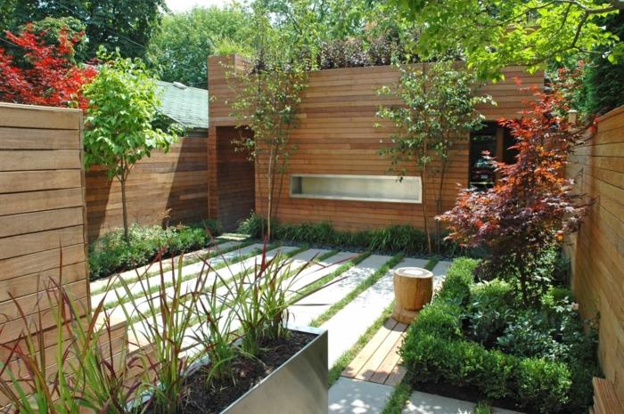 schöne gärten minimalistischer garten mit schönen pflanzen