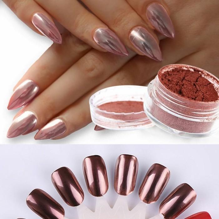 schimmer chrome puder ovale fingernägel hochzeit