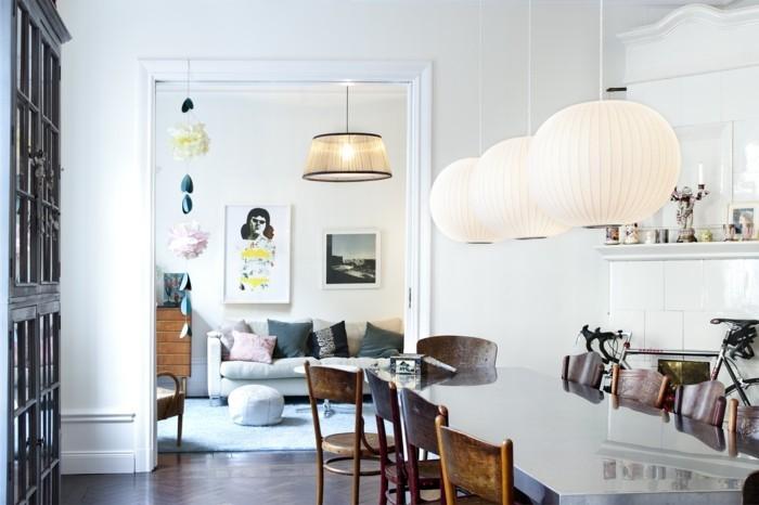skandinavisches design im essbereich mit modernem esstisch und schönen hängelampen