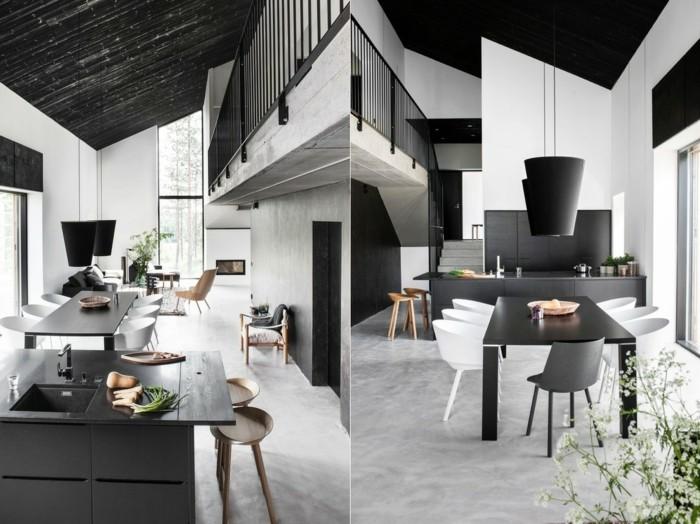 skandinavisch einrichten esszimmer nordisch gestalten in weiß und schwarz