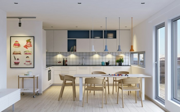skandinavisches design im esszimmer holzboden und weißer esstisch