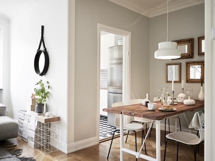skandinavisches design im esszimmer holztisch und bequeme weiße stühle
