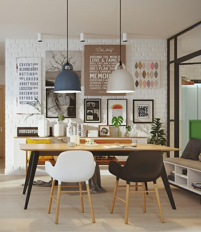 skandinavisches design im esszimmer holztisch und hängeleuchten