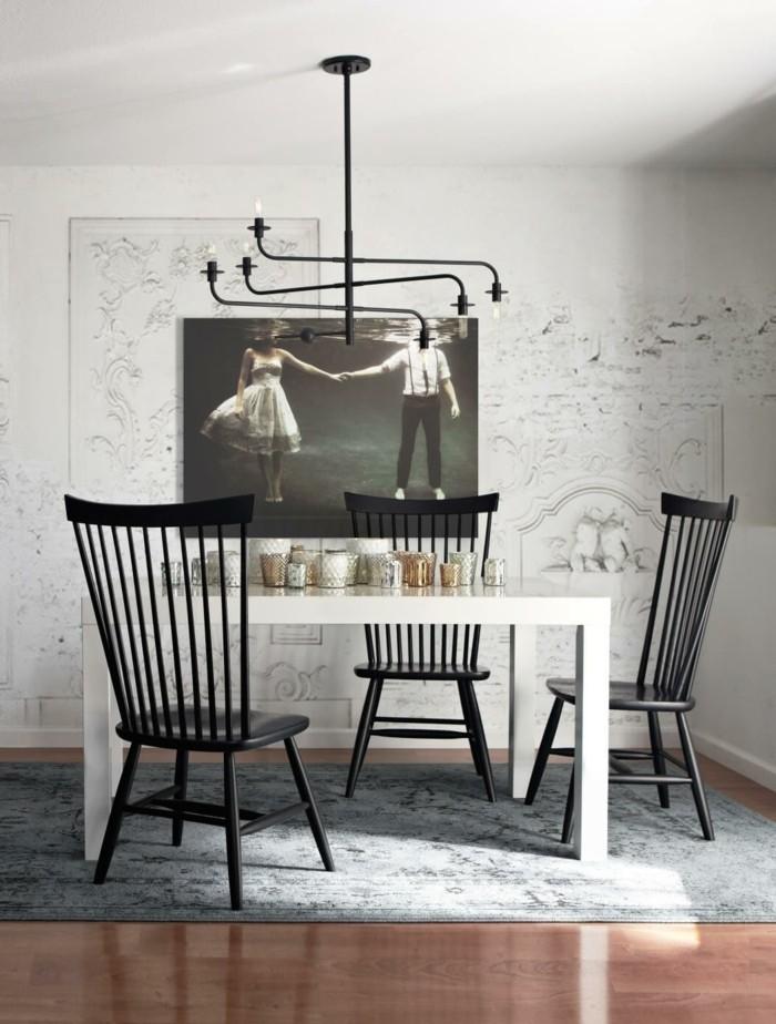 skandinavisches design im esszimmer schwarz weiße farbkombination und grauer teppich