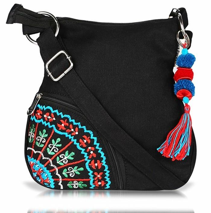 sportlich elegante handtasche im ethno stil