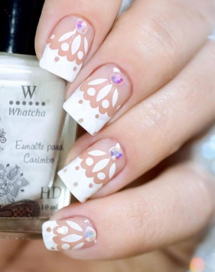 strasssteine weisser nagellack nageldesign hochzeit