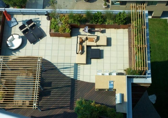 terrassengestaltung auf dem dach bereiche absondern