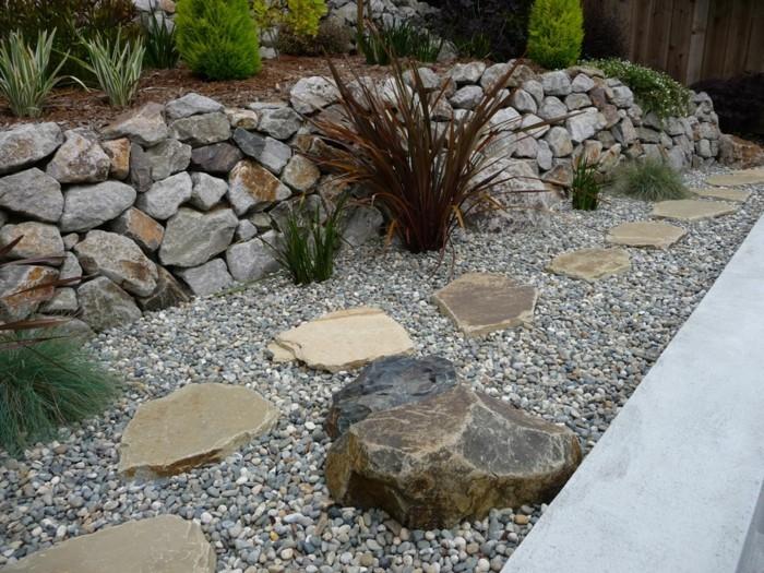 tropischen garten selber gestalten mit steinen und kieselsteinen