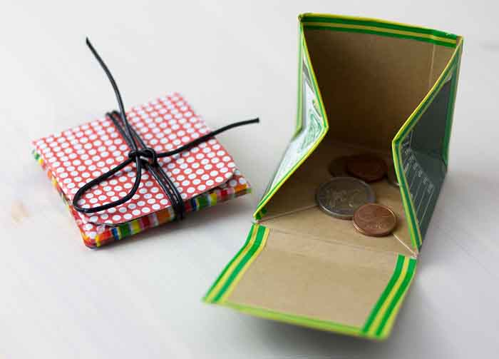 upcycling ideen recycling basteln tetrapack büro geldbörse mit anleitung