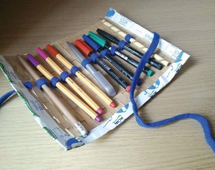 upcycling ideen recycling basteln tetrapack etui