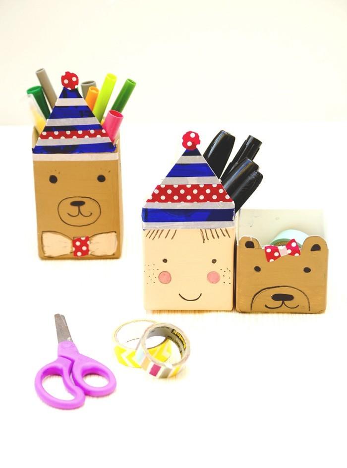 upcycling ideen recycling basteln tetrapack kinderzimmer stiftehalter