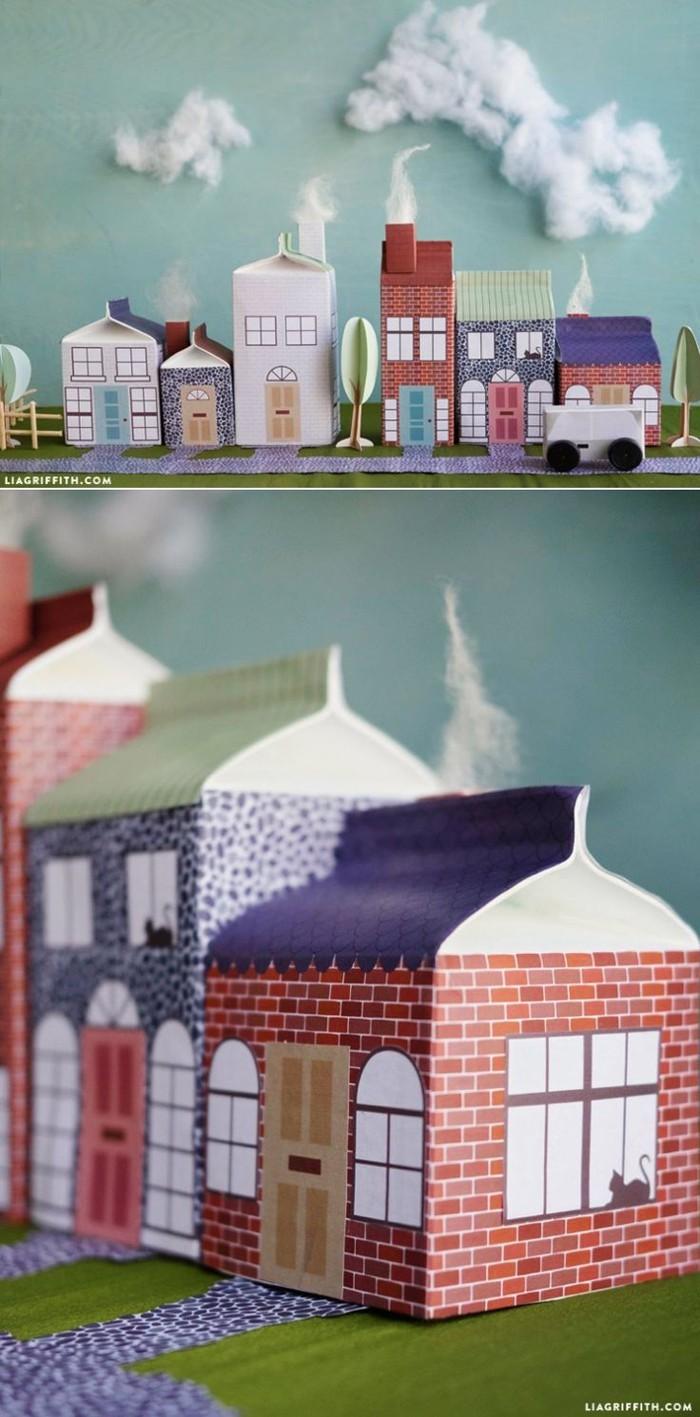 upcycling ideen recycling basteln tetrapack kleine städte bauen