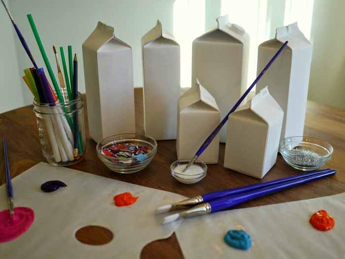 upcycling ideen recycling basteln tetrapack wikking gartenbeleuchtung material