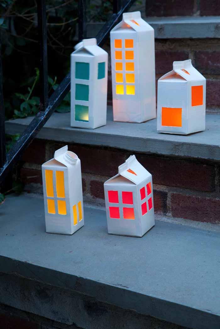 upcycling ideen recycling basteln tetrapack wikking gartenbeleuchtung treppe