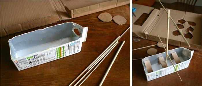 upcycling ideen recycling basteln tetrapack wikking schiff toya