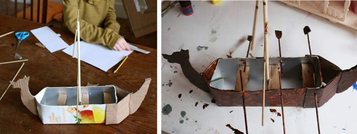 upcycling ideen recycling basteln tetrapack wikking schiff toya2