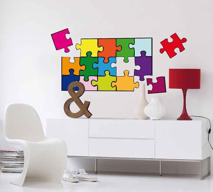 wangestaltung wandtattoo puzzle