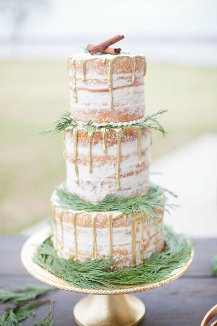 winter hochzeitstrend drizzle cake sahne kreme semi naked zimtstangen tannenhrün