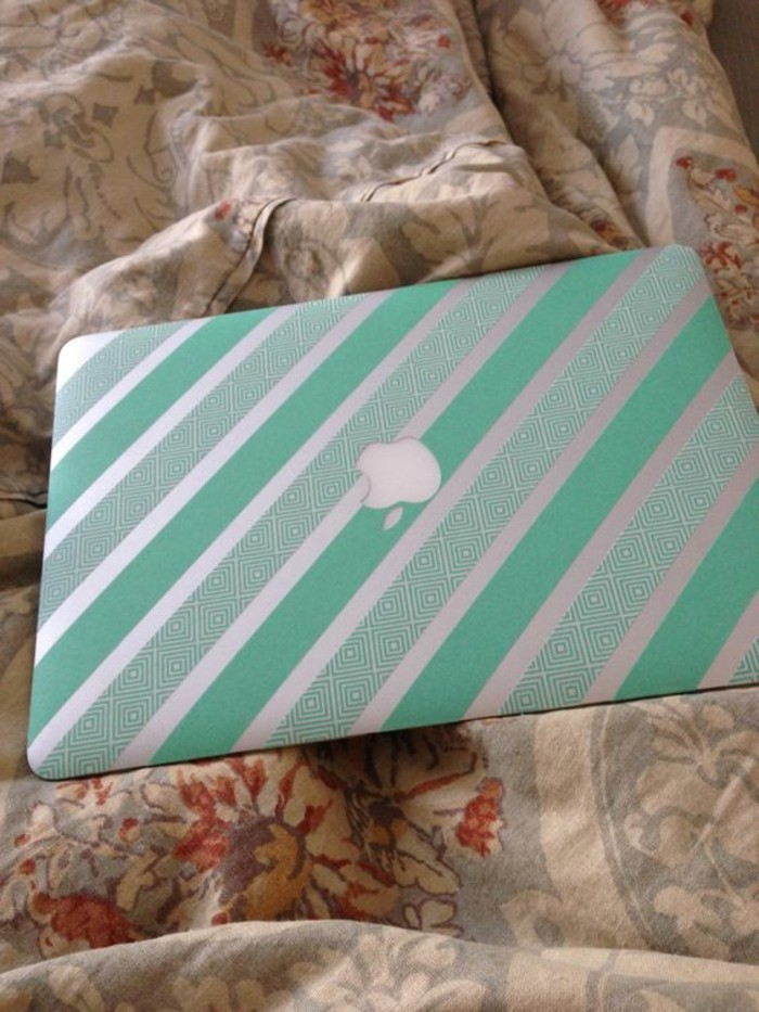 apple macbook air mit washi tape dekorieren