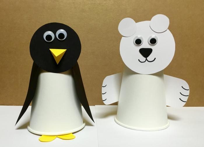 basteln mit kindern pappbecher tiere weissbear pinguin