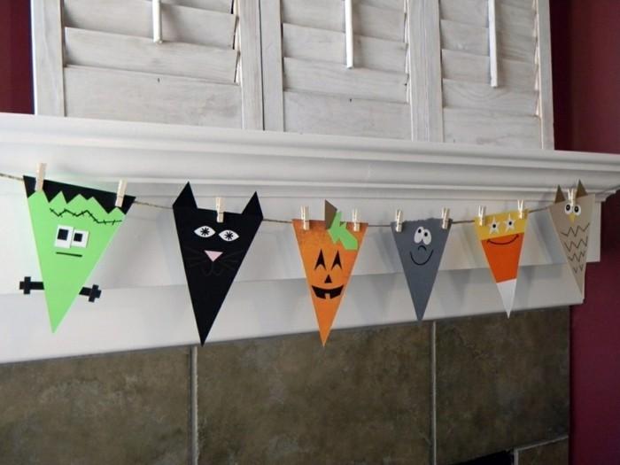 basteln mit papier dekogirlande aus papier für halloween
