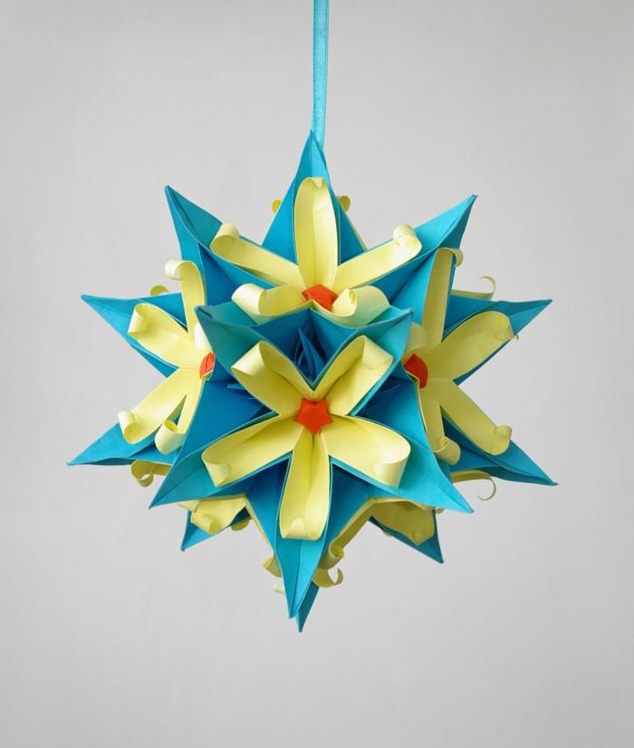 basteln mit papier hängende deko aus papier selber machen