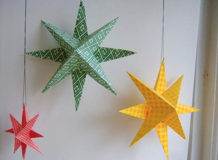 basteln mit papier weihnachtssterne in frischen farben