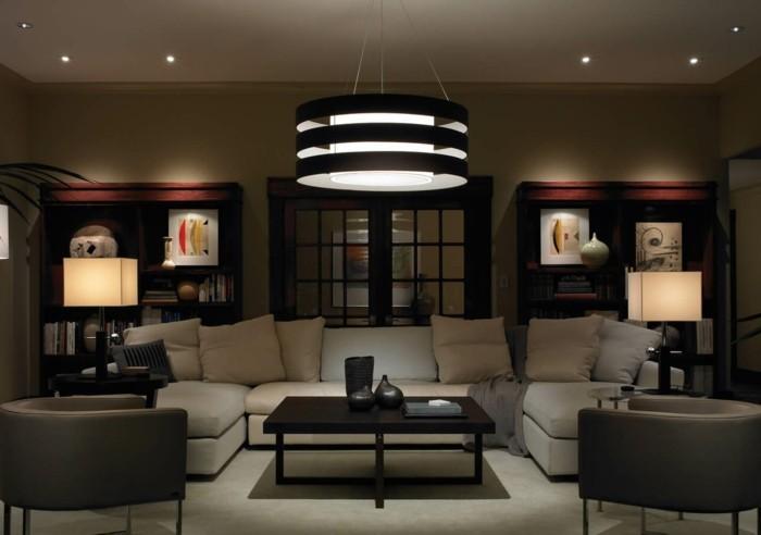 beleuchtung wohnzimmer cooler leuchter und funktionales sofa