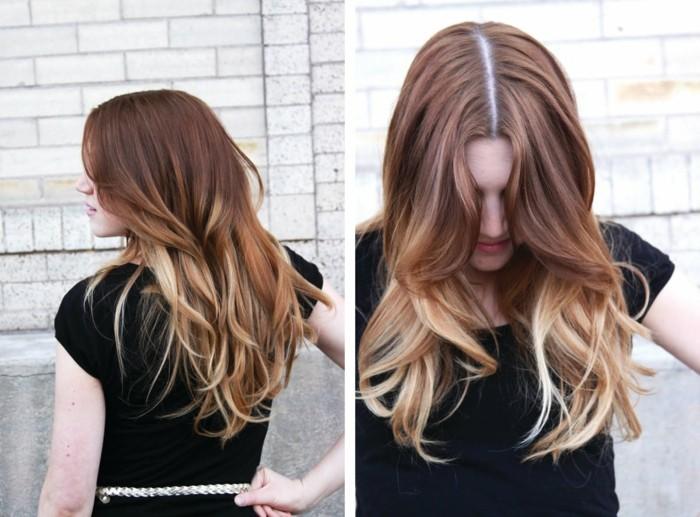 Haare balayage blond glatte Frisuren Für