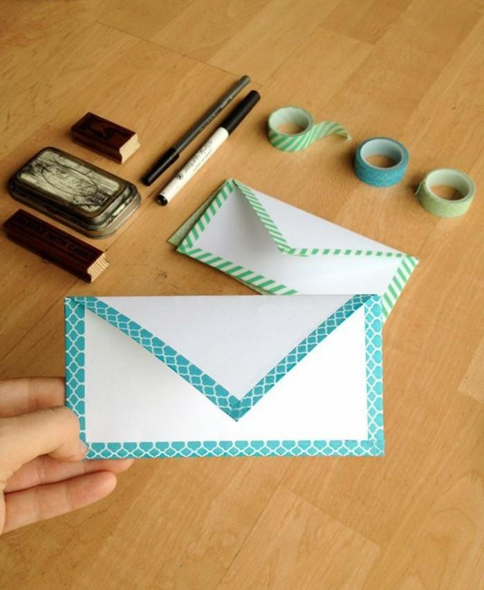 briefumschlag dekorieren diy ideen mit washi tape