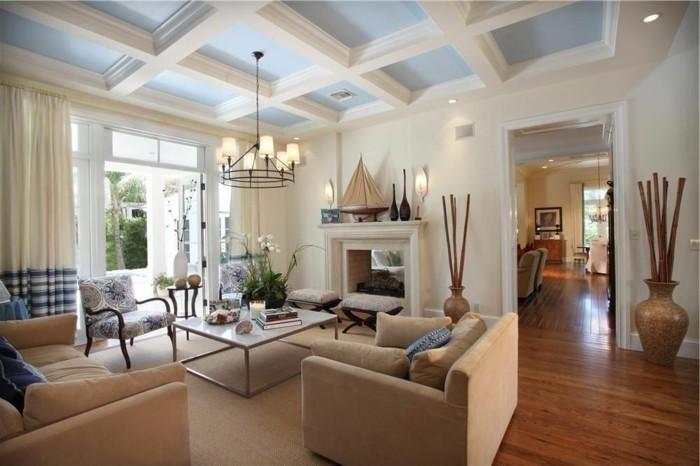 deckengestaltung im wohnzimmer und frisches gardinenmuster